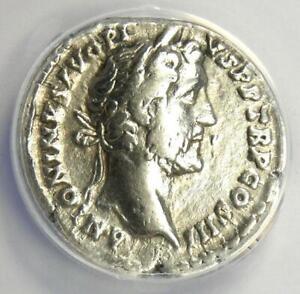 Antoninus Pius AR Denarius Silver Roman Coin 143 AD - Certified ANACS VF25