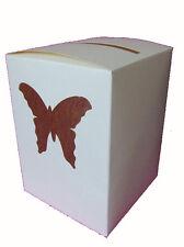 Urne ivoire ornée d'un papillon bordeaux Tirelire anniversaire de mariage
