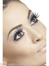 Halloween Blue Glitter Spiderwebs False Eyelashes Lashes With Glue Fancy Dress