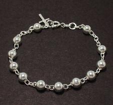 5mm All Shiny Round Bead Ball Rosary Cross Bracelet Genuine 925 Sterling Silver