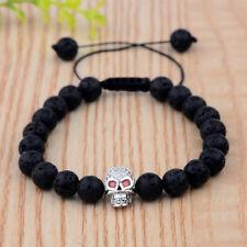 Exquisit Men Micro Pave Zircon Silver Skull Plated Bead Braided Macrame Bracelet
