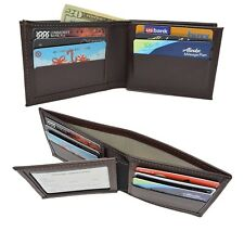 Perfect Fit RFID Blocking Leather Bifold Mens Wallet Brown USA Made Secure Card