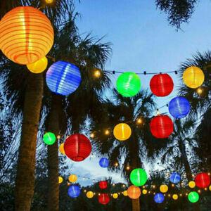 Solar Lampion Lichterkette 10~20 LED Warmweiß Bunt Lampions Innen Außen Garten
