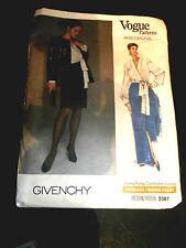Vogue Pattern Paris Original Givenchy #2387 14-15-28 1989 Coulture