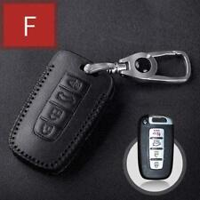For Hyundai 4 buttons Smart Car Key Case bag  Leather Cover type F black line