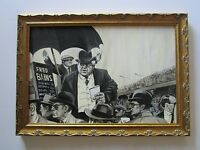 VINTAGE PULP FICTION  PAINTING ILLUSTRATION 1960'S STADIUM FILLED BOOKMAKERS