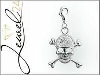 Damen Charm Anhänger echt Silber 925 Sterling rhodiniert Totenkopf mit Zirkonia
