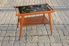 BEISTELLTISCH Teewagen Servierwagen Glasplatte Drachen asia 60er True Vintage