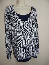 CHICO'S Size (3)  XL Blue White Silver Animal Print Layered Top Zebra Print