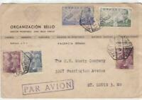 spain 1946 air mail multi stamps cover ref r15498