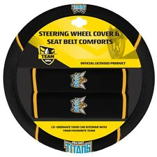 84051 GOLD COAST TITANS NRL CAR STEERING WHEEL COVER & SEAT BELT COMFORTS PADS