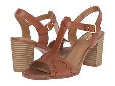 Brand New Clarks Ciera Glass Nutmeg Leather Brown Heel sandal Sz 8US,39EUR