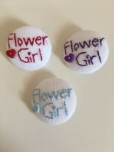 Flower Girl Wedding Bouquet Buttons Hand Stitched Buttons Fabric Buttons
