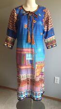 Unbranded Tunic Caftan Dress Home Sky Kite Garden Print Corded Neckline Size M-L