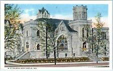 NEW CASTLE, IN Indiana     M E  CHURCH     c1920s       Postcard