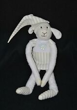 Peluche doudou mouton LUMINOU vert blanc robe rayée luminescent 35 cm TTBE