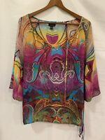 Nicole Miller Womens Sz XS Oversized Sheer Tribal Boho Blouse Tunic Cover Up