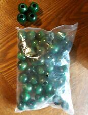 Lot of 50 Vintage 18mm Round Dark Green Primitive Craft Wooden Beads