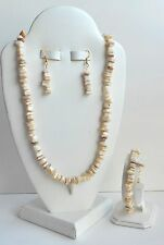 NEW HANDCRAFTED MOTHER OF PEARL NECKLACE, BRACELET & EARRINGS JEWELRY SET-WOW