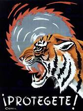 Propaganda cultural Health Safety work Spain tiger Saw póster tipo Print bb2432a