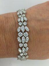 Stunning Marquise & Round CZ 925 Sterling Silver Statement Bracelet 6.75 Inch