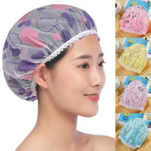 EVA Waterproof Oil Fume Hat High-grade Frosted Printed Lace Shower Cap Reusable