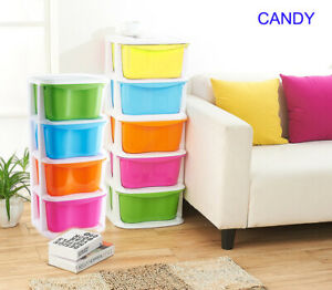 5 Drawer Storage Cart Organizer Plastic Cabinet with Wheels Candy Color