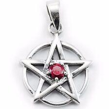 925Silber Pentakel Pentagramm Schutzamulett auf 2 Spitzen stehend roter Kristall