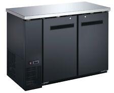 """New 2 Two Door Black Back Bar Cooler 48""""X24"""" Deep Beer Refrigerator Nsf"""