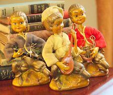 Set 2 Vintage Plastic Figurines Hollow Musicians Asian Hong Kong Elf Pixie Wow