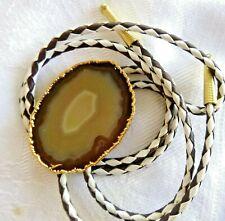 Gold Leaf Frame Artisan Agate Bolo Tie