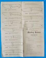 Vintage Rare Muskey Knives Knife Catalog/Poster Order Guide England! Stidham
