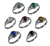 Handmade 925 Solid Sterling Silver Ring Natural Multi Gemstones US Size JR14