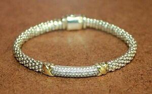 "Lagos Caviar Sterling Silver/18k Gold X Diamond Station Bracelet 6 5/8"" [081WEI]"