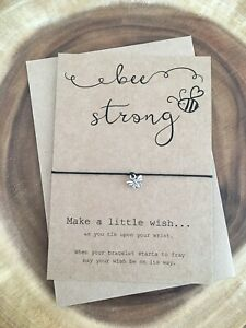 Bee Be Strong Anxiety Positivity Motivational Friendship Wish Bracelet Gift