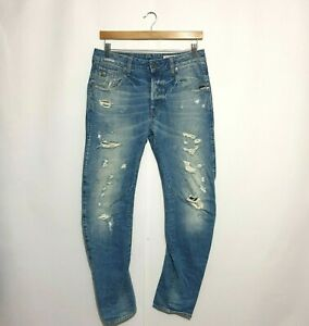 G Star Raw Jeans Sz W 29 L 30 Blue 3D Arc Slim Cotton Blend Distressed Stretch