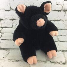 The Manhattan Toy Company Black Pig Plush W/Curly Tail Stuffed Animal VTG Rare