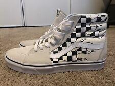 Vans SK8 Hi Checker Flame Classic White Skate Shoes Sz 10 MENS 11 Women's