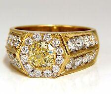 GIA Certified 2.95ct natural Fancy Yellow diamonds mens ring 18kt Hexagon Deck