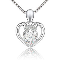 """925 Sterling Silver Pendant Heart Love White Crystal Necklace 18"""" Chain Jewelry"""
