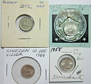 SWEDEN. VINTAGE LOT OF 4 SILVER 10 ORE COINS. 1950-1969. HIGH GRADE. SEE PICS