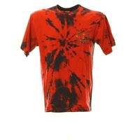 Batik T-Shirt Herren Gr. M Print Rot Kurzarmshirt Retro Vintage
