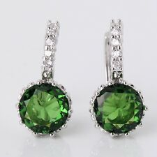 Your valued choice! 18k white gold filled emerald leverback charming earring