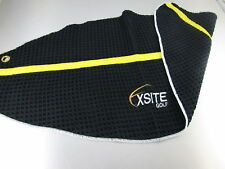 "EXSITE Golf Large iTowel 2 I Towel Caddy 29"" Set of Three 3 Pack Black Yellow"