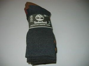 Timberland CREW Socks Outdoor Leisure Hiking Sox 4 Pair/Pack Shoe Size 9-12 New