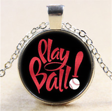 Play Ball Photo Cabochon Glass Tibet Silver Chain Pendant Necklace#CI15
