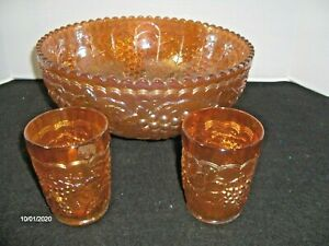 Vtg. Imperial Grape and Cable Marigold Carnival Glass Bowl Scalloped Rim 2 Cups