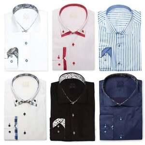 Mens Designer Double Collar Formal Italian Slim Fit Contrast Collar Shirt S-4XL