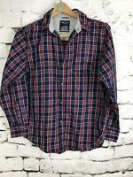 Nautica Boys Button Up Plaid Shirt Long Sleeve Red Blue White Cotton Large 14/16