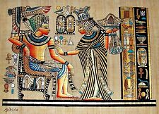 Egyptian Hand-painted Papyrus King Tut & Queen Scene from Golden Shrine 13 x 9""
